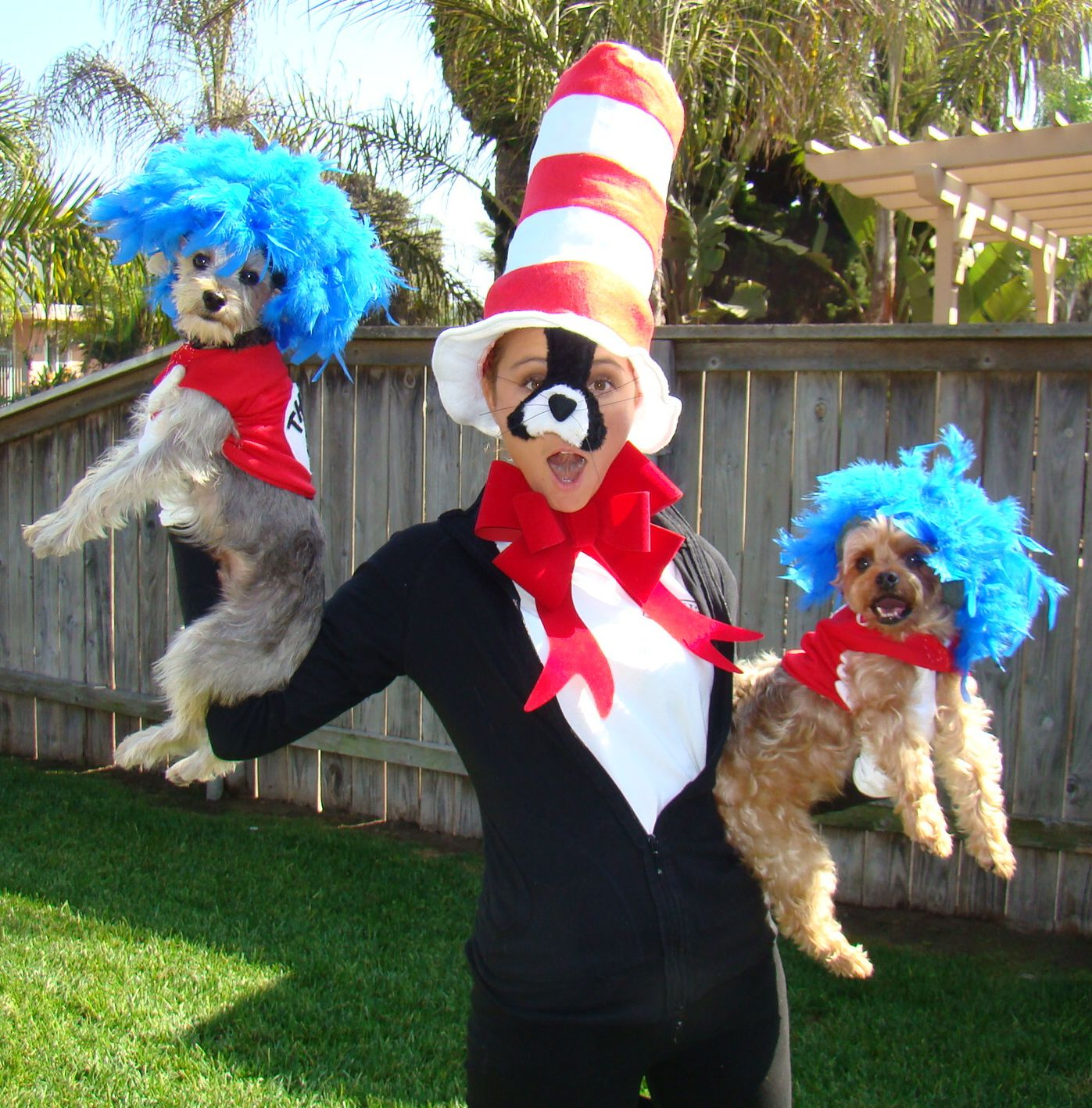 Thing One and Thing Two with a Cat in the Hat costumes