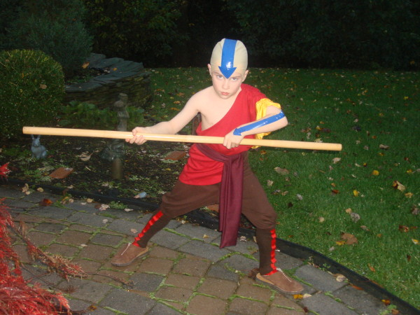 for halloween i was aang from avatar my dad and i are big fans of the show and cant wait for the movie to come out