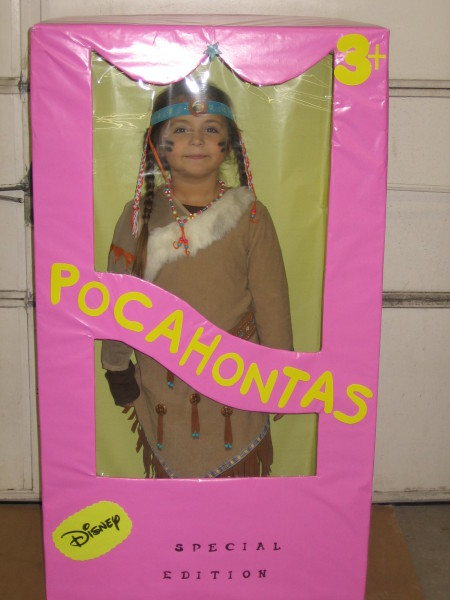 This is my 6 year old daughter Madison who is a Pocahontas Barbie in a box. We formed a cardboard box to resemble a Barbie box and covered the inside and ...  sc 1 st  Costume Pop & Pocahontas Barbie in a Box Costumes   Costume Pop