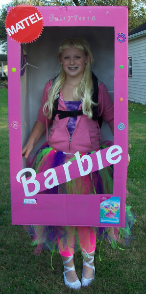 Fairytopia barbie costumes costume pop this is my daughter koralshe wanted to be a life sized barbie doll this year i used a wardrobe box and cut one side to resemble a real barbie boxi then aloadofball Image collections