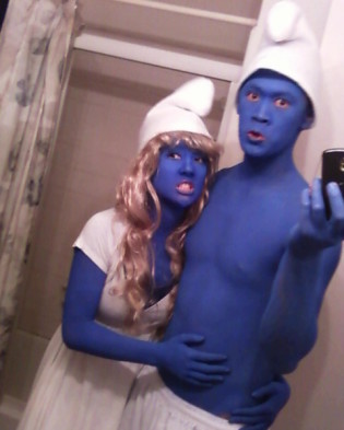 Smurfette and Grouchy Smurf Costumes