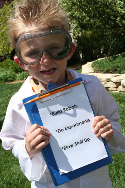 scientist costume with clipboard
