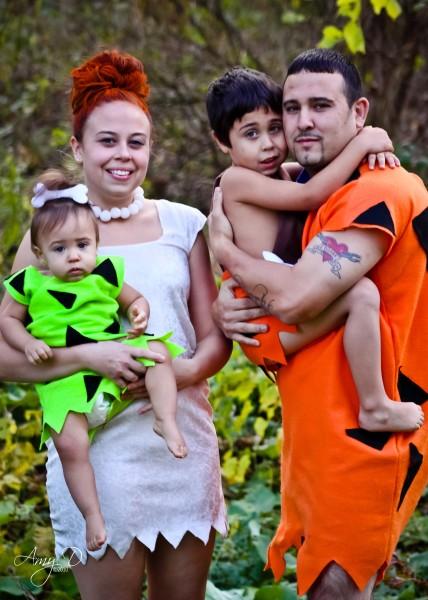 HOMEMADE FLINTSTONES FAMILY COSTUMES! PEBBLES BAM BAM WILMA u0026 FRED!  sc 1 st  Costume Pop & The Flintstones Costumes | Costume Pop