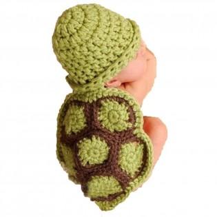 Baby Newborn Boy Girl Turtle Tortoise Crochet Cotton Knit Costume Photo 0-3 Months - CostumePop