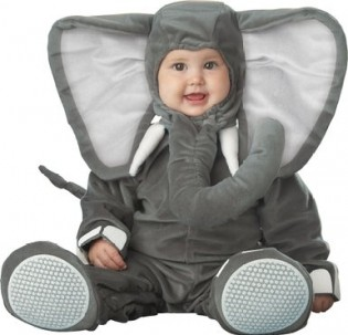 InCharacter Infant Elephant Costume, Dark Grey/Light Grey - CostumePop